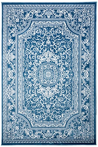New Summit Elite S62 Blue and White Rug Antuque Style Tone on Tone 5X7 ACTAL Size is 4 .10 X 7 .2
