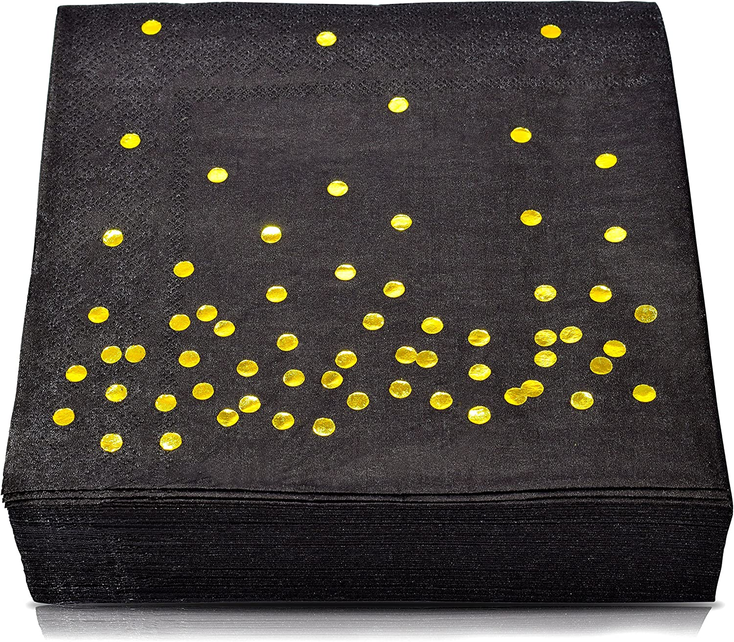 TROLIR Cocktail Napkins, Black with Gold Dots, 3-ply, Pack of 50 Disposable Paper Napkins Stamped with Sparkly Gold Foil Polka Dots, Ideal for Wedding, Party, Birthday, Dinner, Lunch, Cocktail