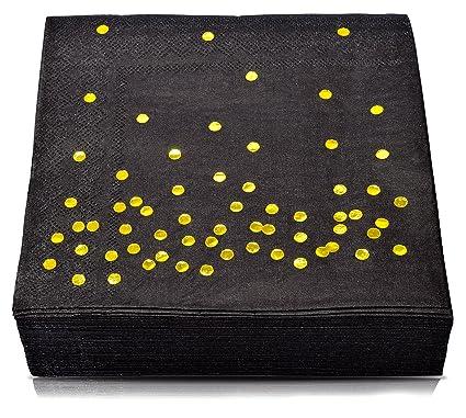 290aff4f608c3 Amazon.com | TROLIR Cocktail Napkins, Black with Gold Dots, 3-ply ...