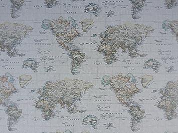 Worksheet. Vintage Brown World Map Atlasglobe print fabric Curtains roman