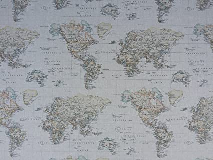 World Map Print Fabric.Vintage Brown World Map Atlas Globe Print Fabric Curtains Roman