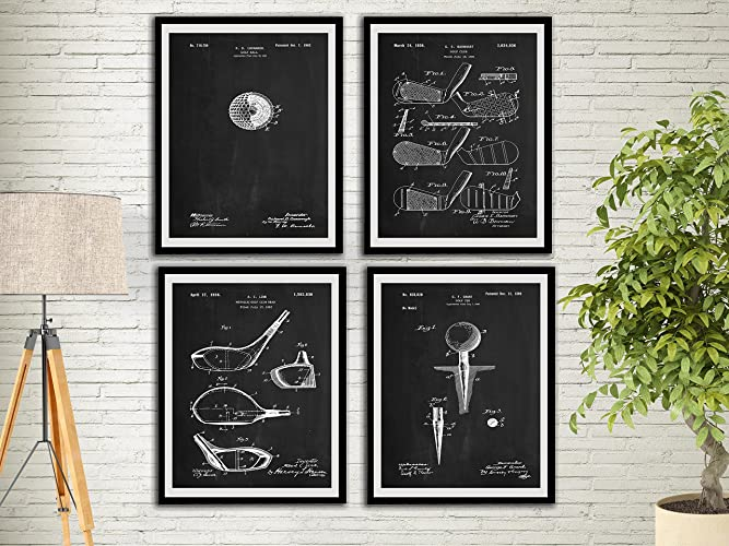 Golf Patent Art Prints Chalk Board Set Golf Gifts For Men Office Decor  Sports Wall Art