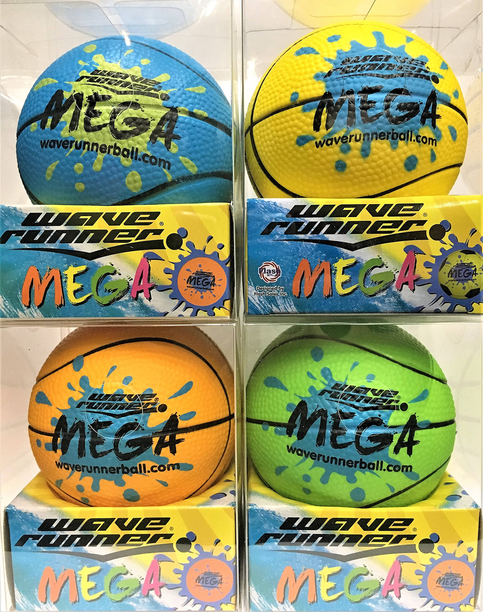 Wave Runner Water Skipping Ball Basketball Style 3.5'' Advance Water Bounce Fun (4PCKMIX) by Wave Runner (Image #1)