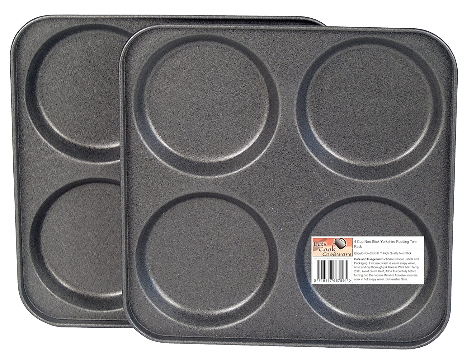 4 Hole Yorkshire Pudding Trays, Twin Pack, British Made with GlideX Non-Stick by Lets Cook Cookware