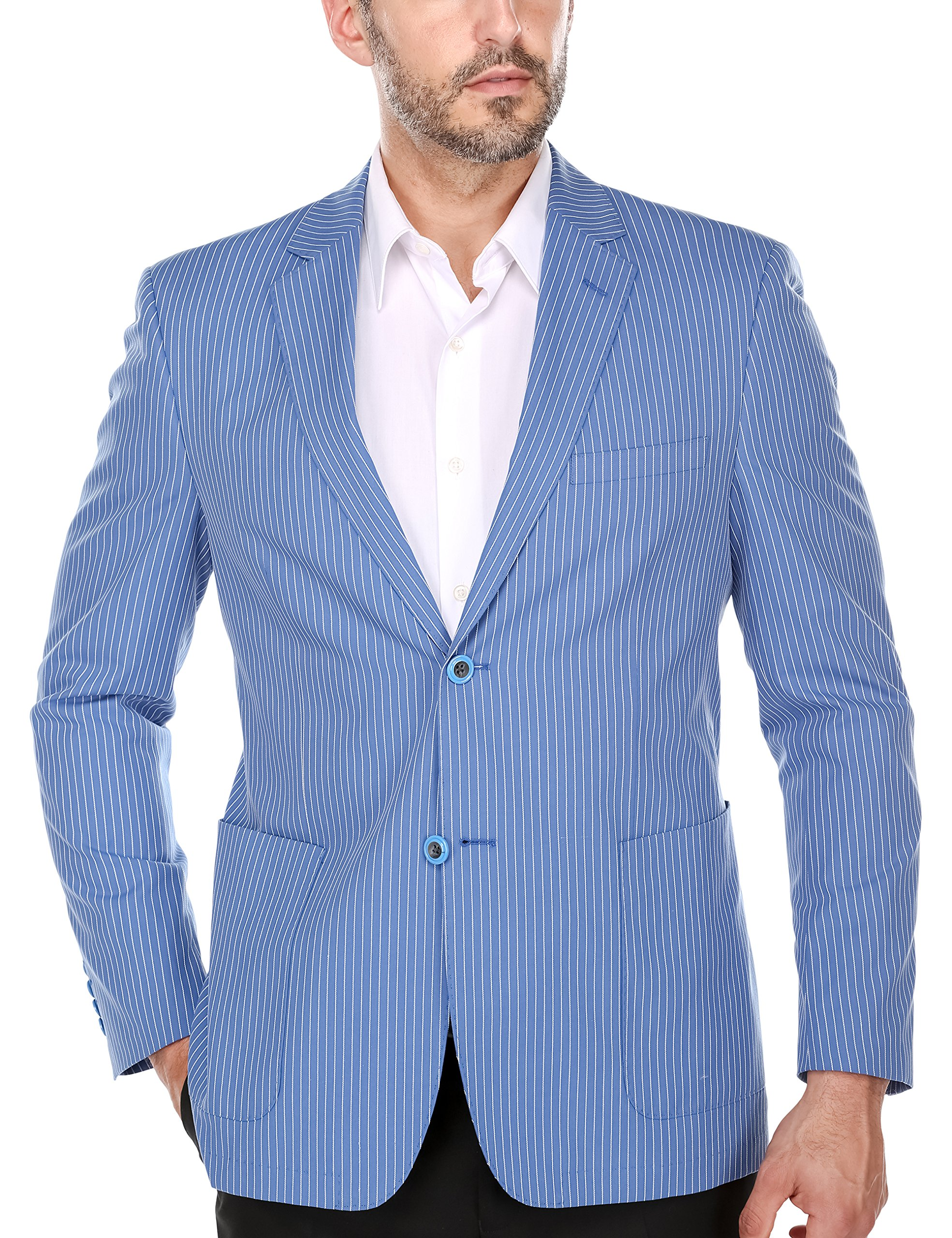 Chama Men's Slim Fit Casual Single Breasted Two Button Notch Lapel Cotton Fashion Blazer Jacket (Summer Blue, 44R)