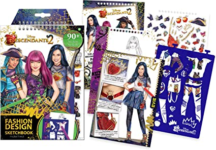 Amazon Com Make It Real Disney Descendants 2 Fashion Design Sketchbook Disney Inspired Fashion Design Coloring Book For Girls Includes Evie Sketch Pages Stencils Stickers And Design Guide Toys Games