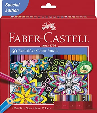 Faber-Castell 111260 – Lápices de colores Castle hexagonal, 60 estuche de cartón Special Edition, Buntstifte, 1: Amazon.es: Industria, empresas y ciencia