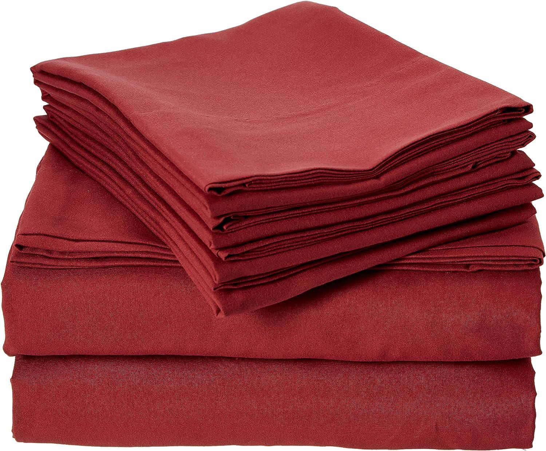 Sweet Home Collection Supreme 1800 Series 4pc Bed Sheet Set Egyptian Quality Deep Pocket - King, Burgundy