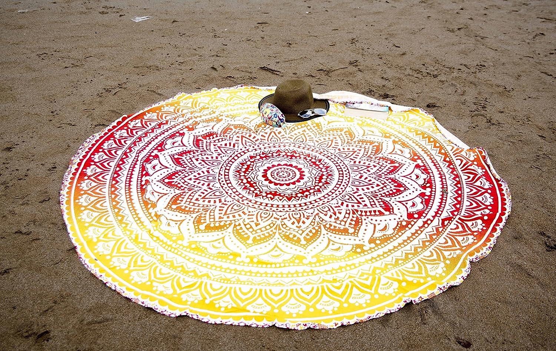 180 cm style hippie//indien pour pique-nique Folkulture Lot de 2/tapisseries rondes Mandala en coton m/éditation plage yoga jaune et rose