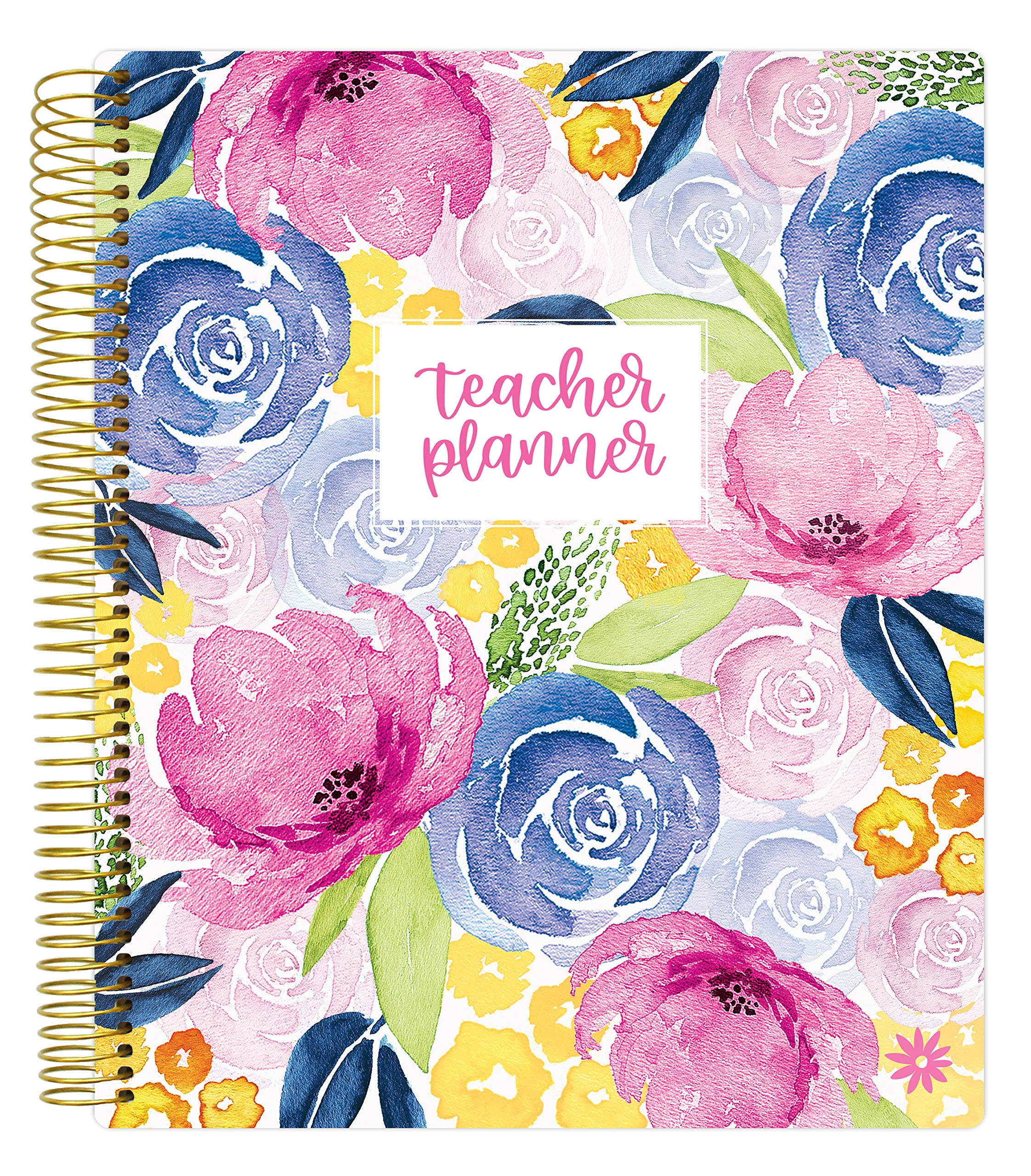 bloom daily planners Undated Academic Year Teacher Planner - Lesson Plan Calendar Book - 9'' x 11'' - Watercolor Floral