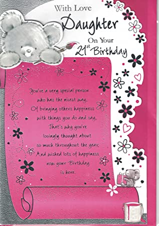 Daughter 21st Birthday Card With Love On Your Cute Bear Mouse Design Amazoncouk Office Products