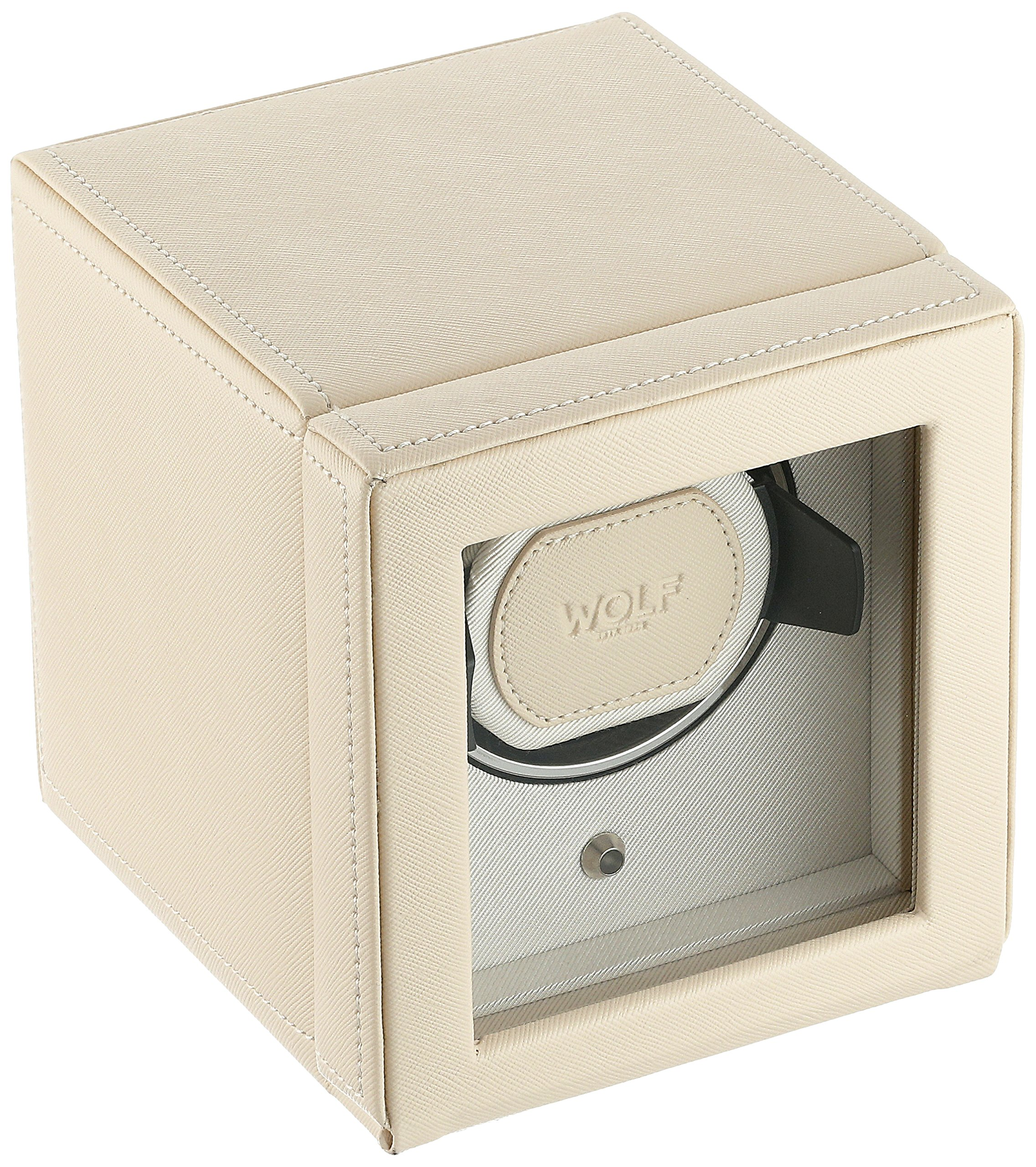 WOLF 461153 Cub Single Watch Winder with Cover, Cream