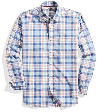 61e62ca563b0 Goodthreads Men's Standard-Fit Long-Sleeve Lightweight Madras Plaid Shirt,  Blue/Clay