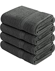 Utopia Towels 600 gsm Cotton Large Hand Towels (4 Pack, Dark Grey - 16 x 28 Inches) - Multipurpose Bathroom Towel set for Hand, Face, Gym and Spa