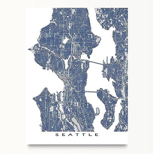 Amazoncom Seattle Map Art Washington USA City Street Outline