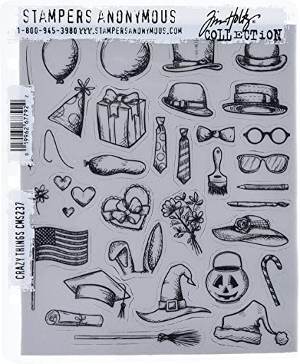 Backed with cling foam Glasses Rubber Stamps