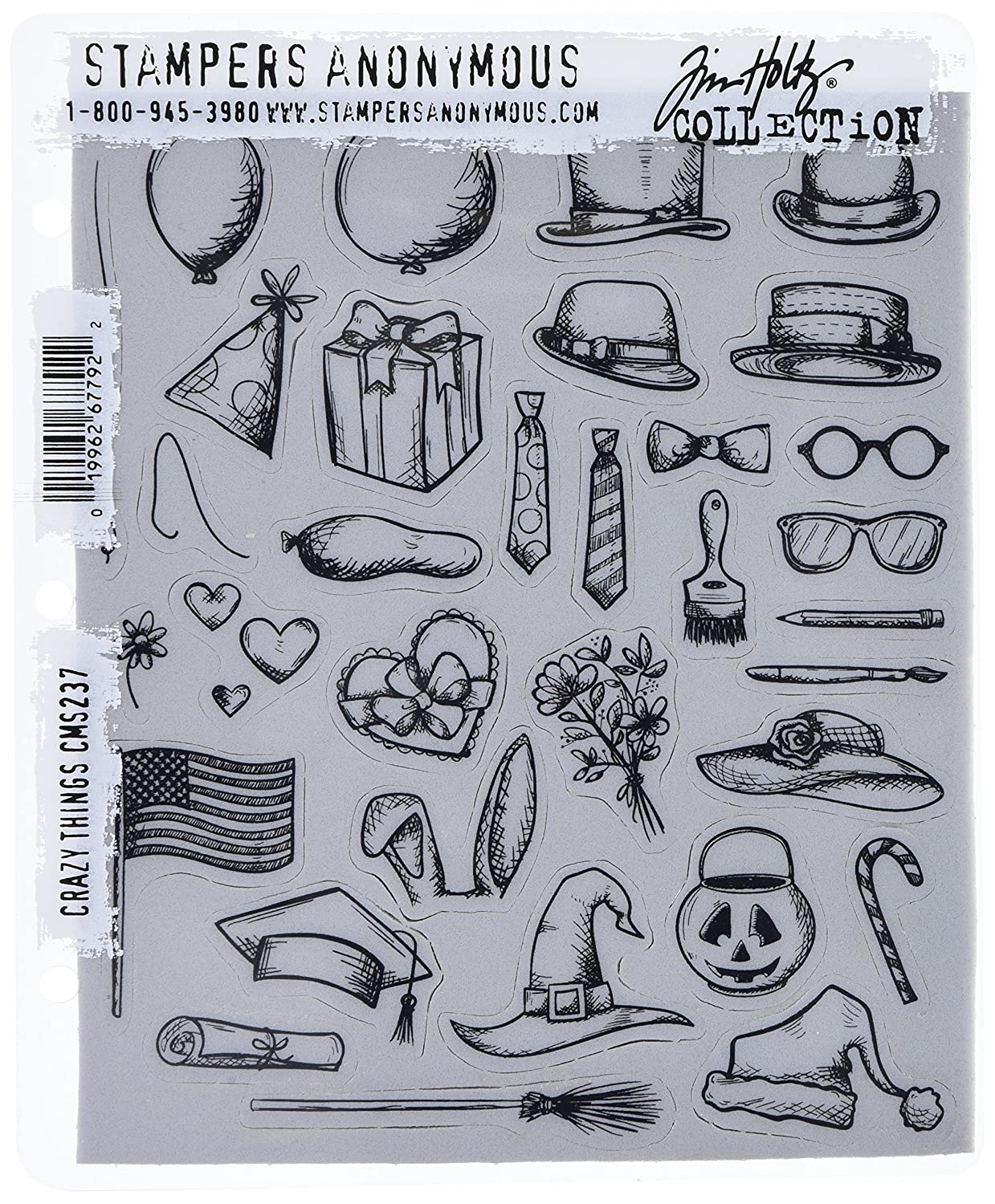 Stampers Anonymous Tim Holtz Cling Rubber Stamp Set, 7