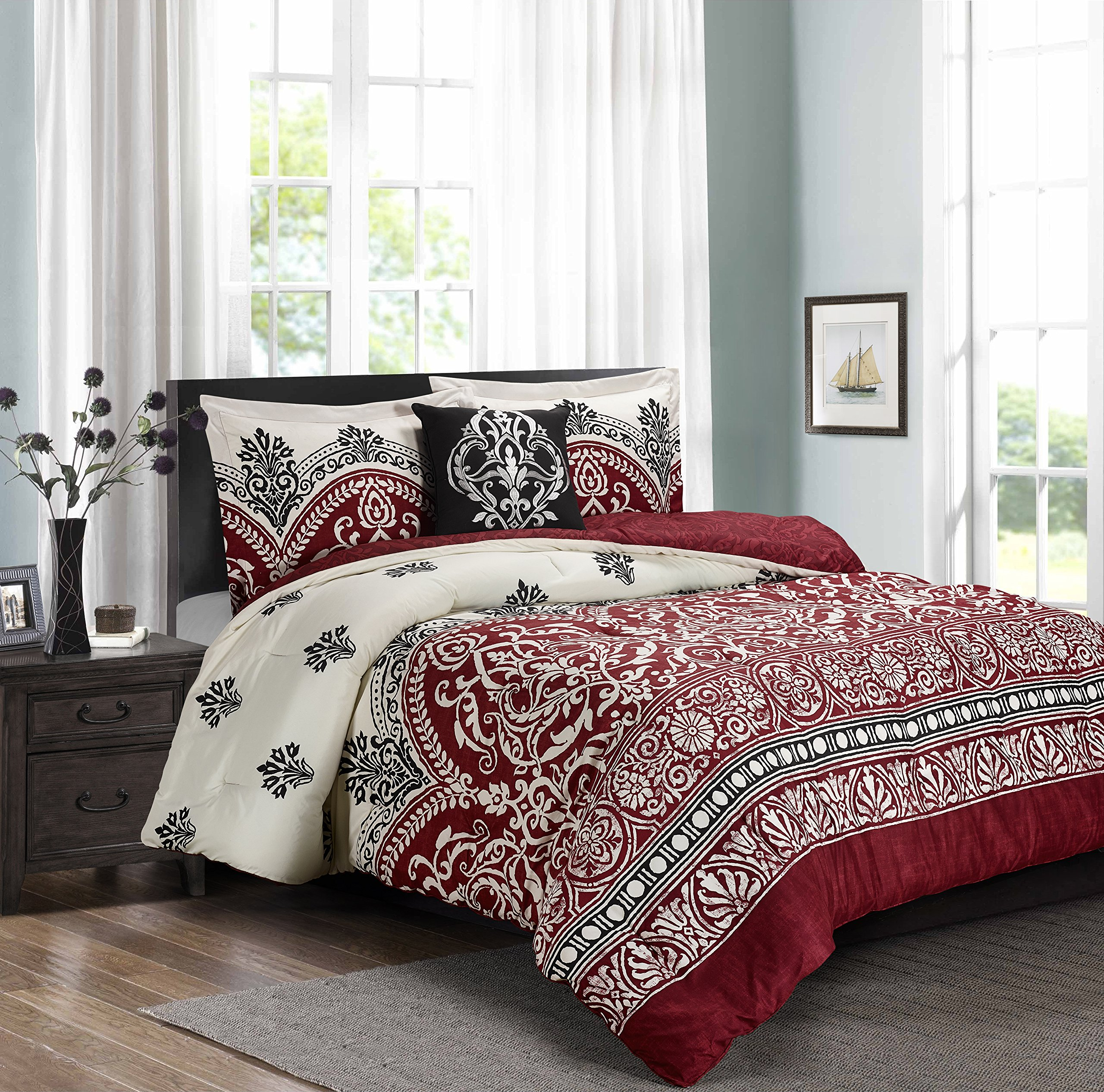 Pure Comfort Luxury Brushed Microfiber 4 Pieces Comforter Set, Queen, Chateau, 4 by Pure Comfort (Image #1)