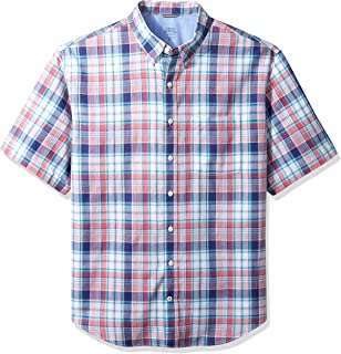 IZOD Mens Big and Tall Saltwater Dockside Chambray Short Sleeve Button Down Pattern Shirt