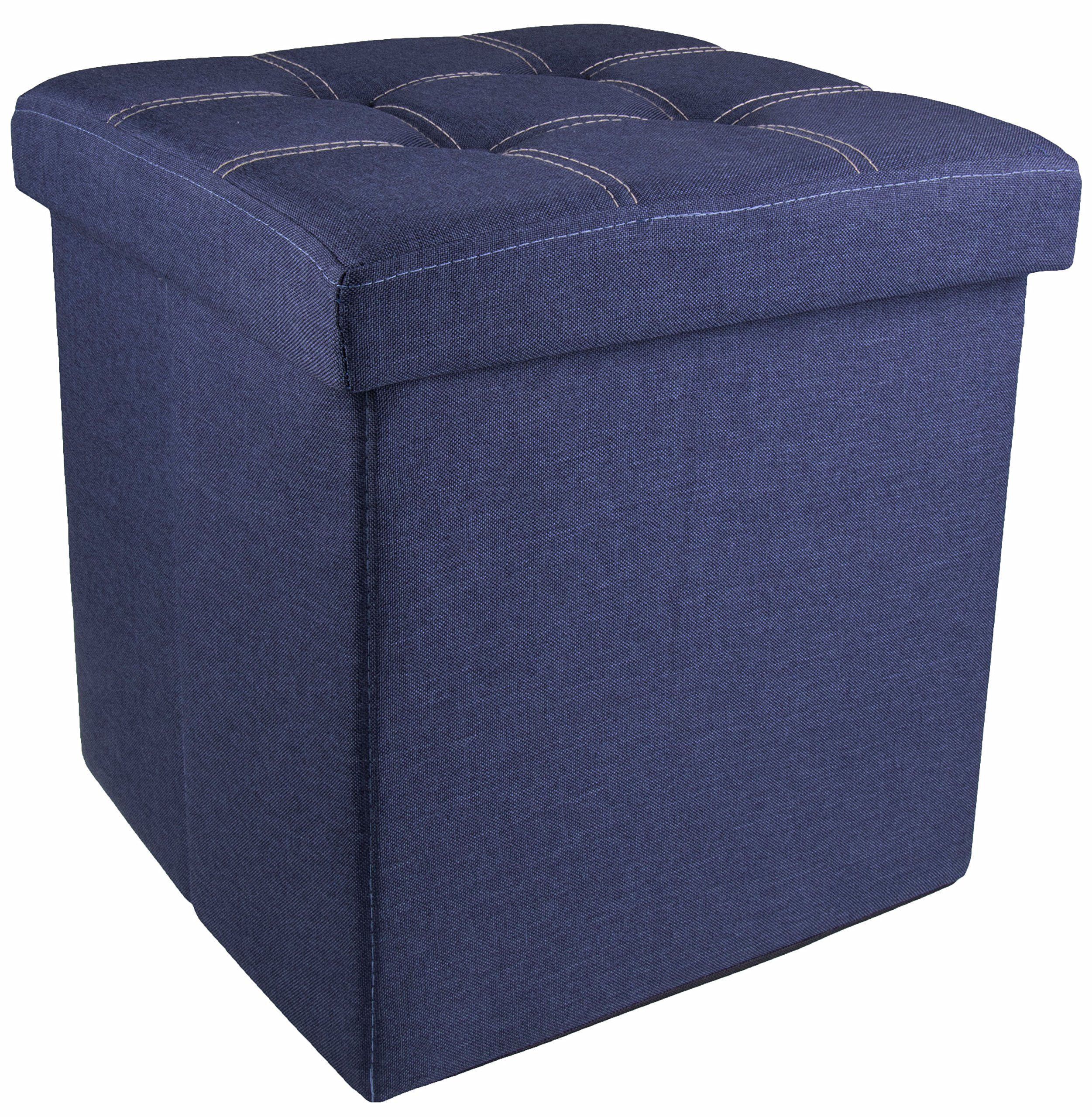 Clever Creations Denim Footrest Ottoman Modern Accent Piece Storage | Premium Materials | Trendy Décor | Perfect Size Any Room in the Home | Stylish Storage Blankets Games | Blue