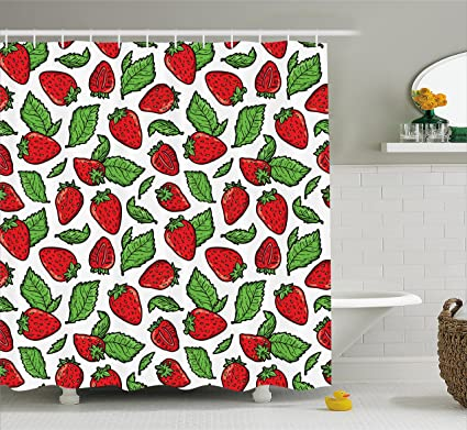Ambesonne Fruit Shower Curtain Juicy Strawberries With Leaves Yummy Food Organic Charming Sweets Graphic Design