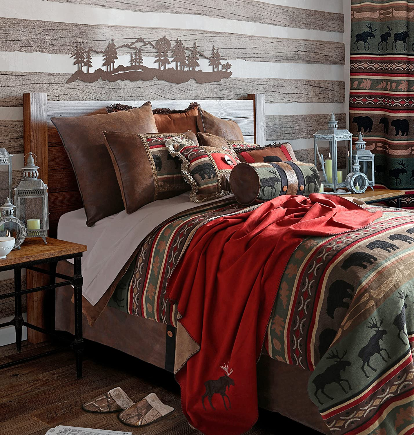Rustic Western Southwestern Outdoors Cabin Inspired Comforter Set 5PC Backwoods (Queen