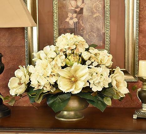 Cream Magnolia And Hydrangea Silk Floral Centerpiece Kitchen Dining