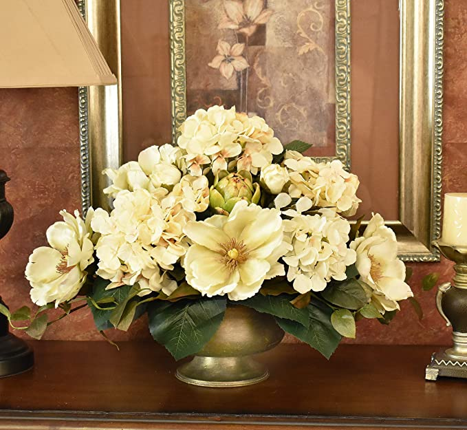 Cream Magnolia And Hydrangea Silk Floral Centerpiece Kitchen Dining Amazon Com