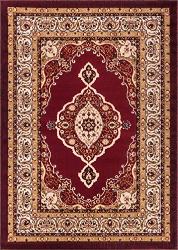 Well Woven Dulcet Isfahan Medallion Red Traditional Area Rug 7'10″ X 9'10″