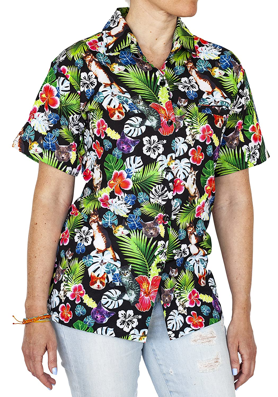 ac9ffe26c Amazon.com: Funny Guy Mugs Womens Hawaiian Print Button Down Short Sleeve  Shirt: Clothing