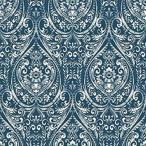 NuWallpaper NU1689 Bohemian Damask Indigo Peel & Stick Wallpaper