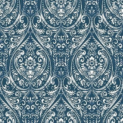 nuwallpaper nu1689 bohemian damask indigo peel stick wallpaper