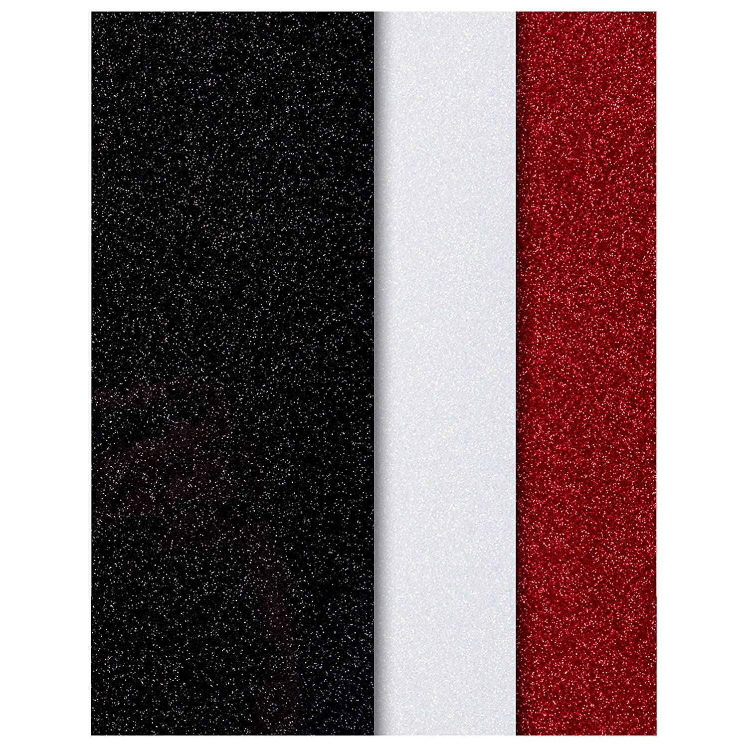 Black, White and Red Glitter HTV Heat Transfer Vinyl Sheets | 3 Pack Bundle | Cricut, Silhouette Cameo, Iron On Or Heat Press Machine | Make Amazing T Shirts | Exceptional Quality | GlitZ VinylZ Model 3G8 - Hand Packed in the USA - 25.6 cm X 24.4 cm (10 1/