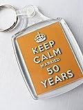 Keep Calm 50th Golden Wedding Anniversary Keyring Celebration Gift for Women and Men.