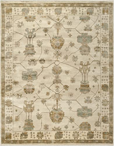 Safavieh Oushak Collection OSH751A Hand-Knotted Ivory and Blue Wool Area Rug 6 x 9