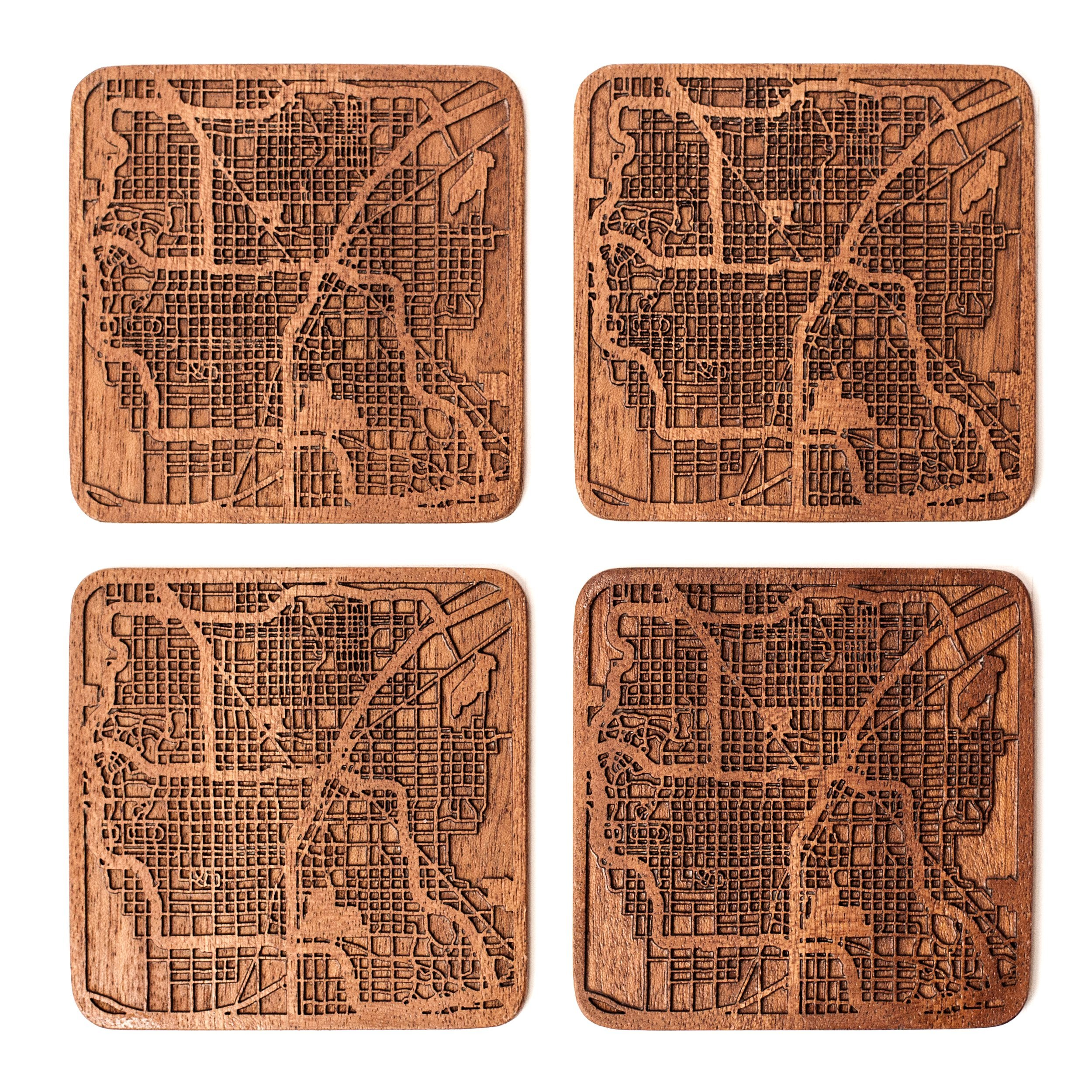 Las Vegas Map Coaster by O3 Design Studio, Set Of
