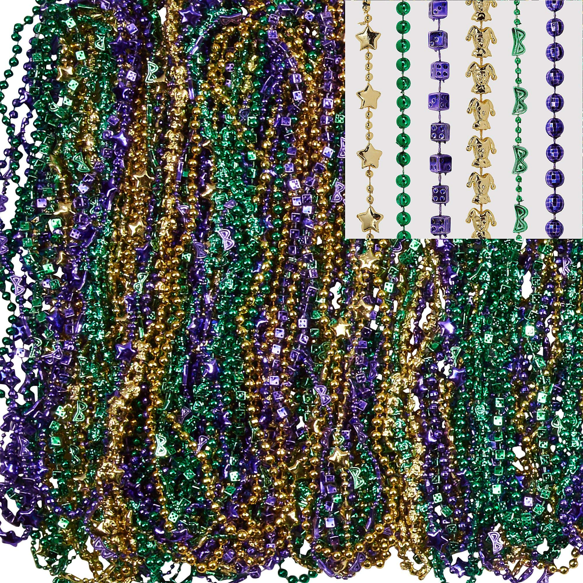 Amscan Mardi Gras Bead Necklaces, Carnival Party Supplies, 3 Assorted Colors, 30'' L, 576 Count by amscan (Image #1)