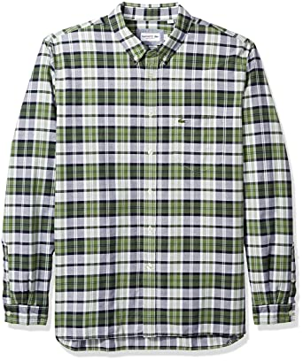 7ef2f38e3 Lacoste Men s Long Sleeve Oxford Checked Button Down Collar Reg Fit ...