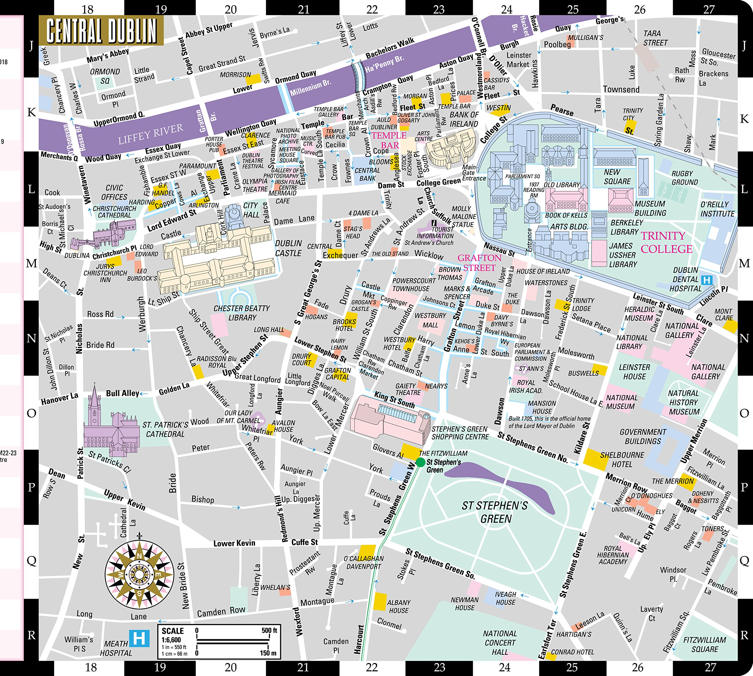 Streetwise Dublin Map - Laminated City Center Street Map of Dublin ...