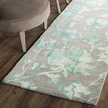 Safavieh Dip Dye Collection DDY716L Handmade Floral Watercolor Grey and Turquoise Wool Runner (2