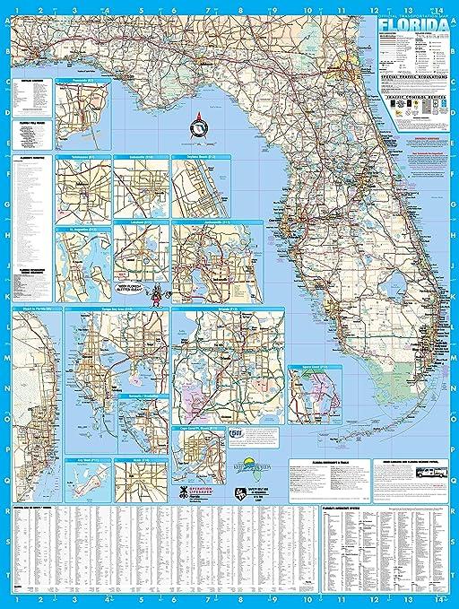 Florida Estado laminado mapa de pared Póster de 48 x 64: Amazon.es: Oficina y papelería