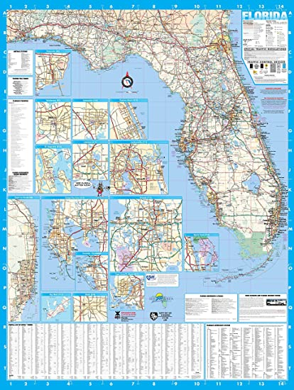 Amazon.com : Florida State Laminated Wall Map Poster 36x48 : Office ...