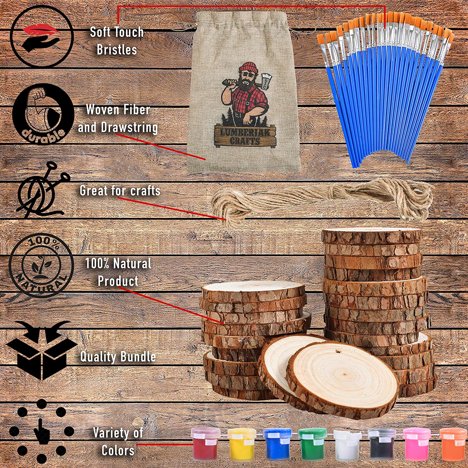 Pre-Drilled Wooden Discs for Arts and Crafts Ornaments by Lumberjak 24 Paint Brushes 24 Natural Wood Slices for Crafts Set Wood Coasters 2.85-3.15in 33Ft Hemp String 8 Paint Colors