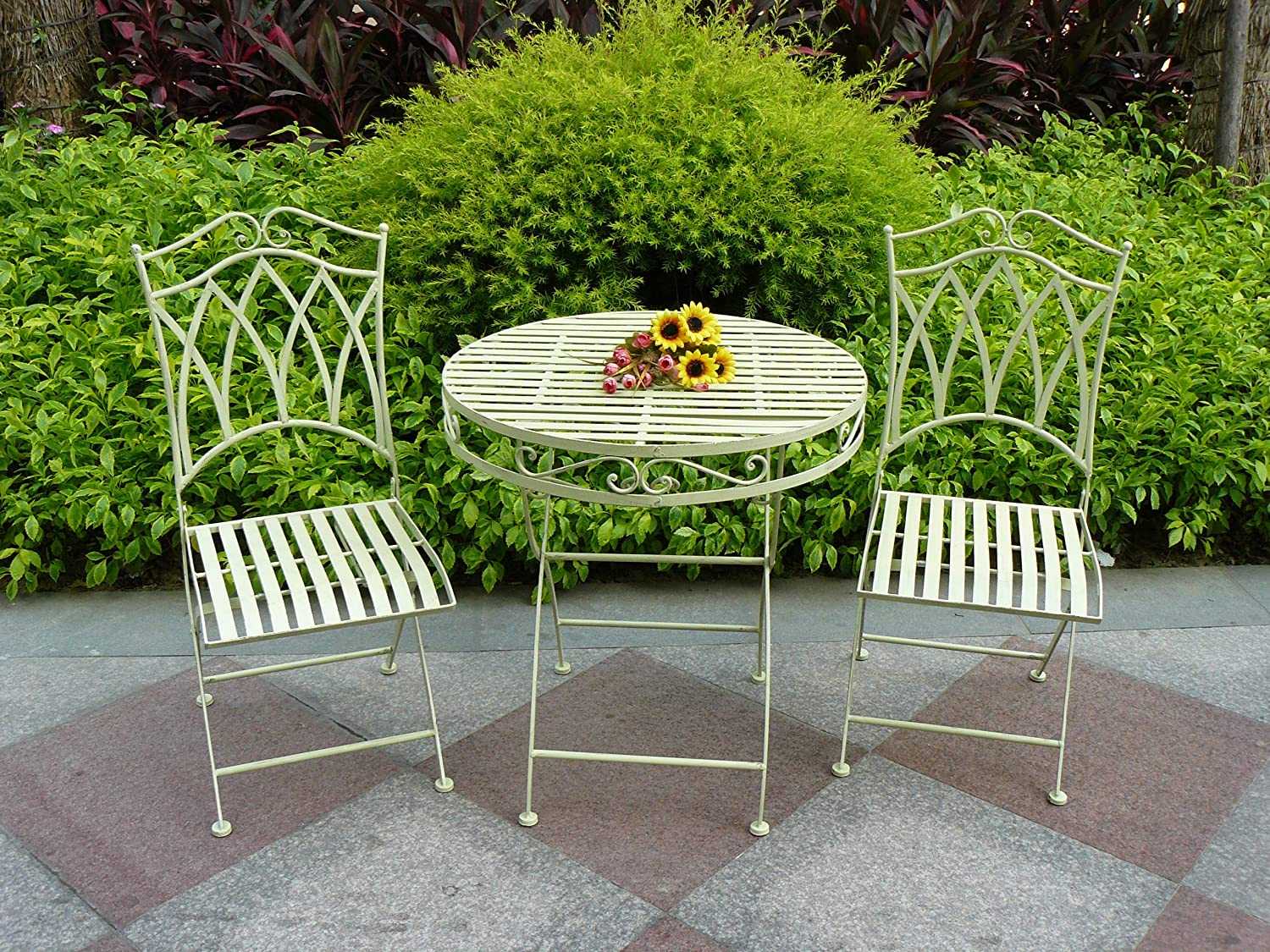 Green Parisian Style Bistro Set For Patios Decking and Gardens