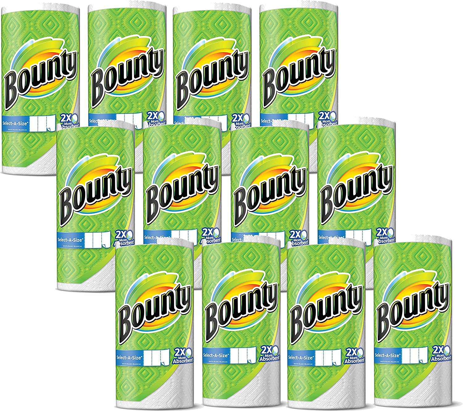 Bounty Select-A-Size, 12 Rolls, 948 Sheets Total, 11 x 5.9-Inches, White