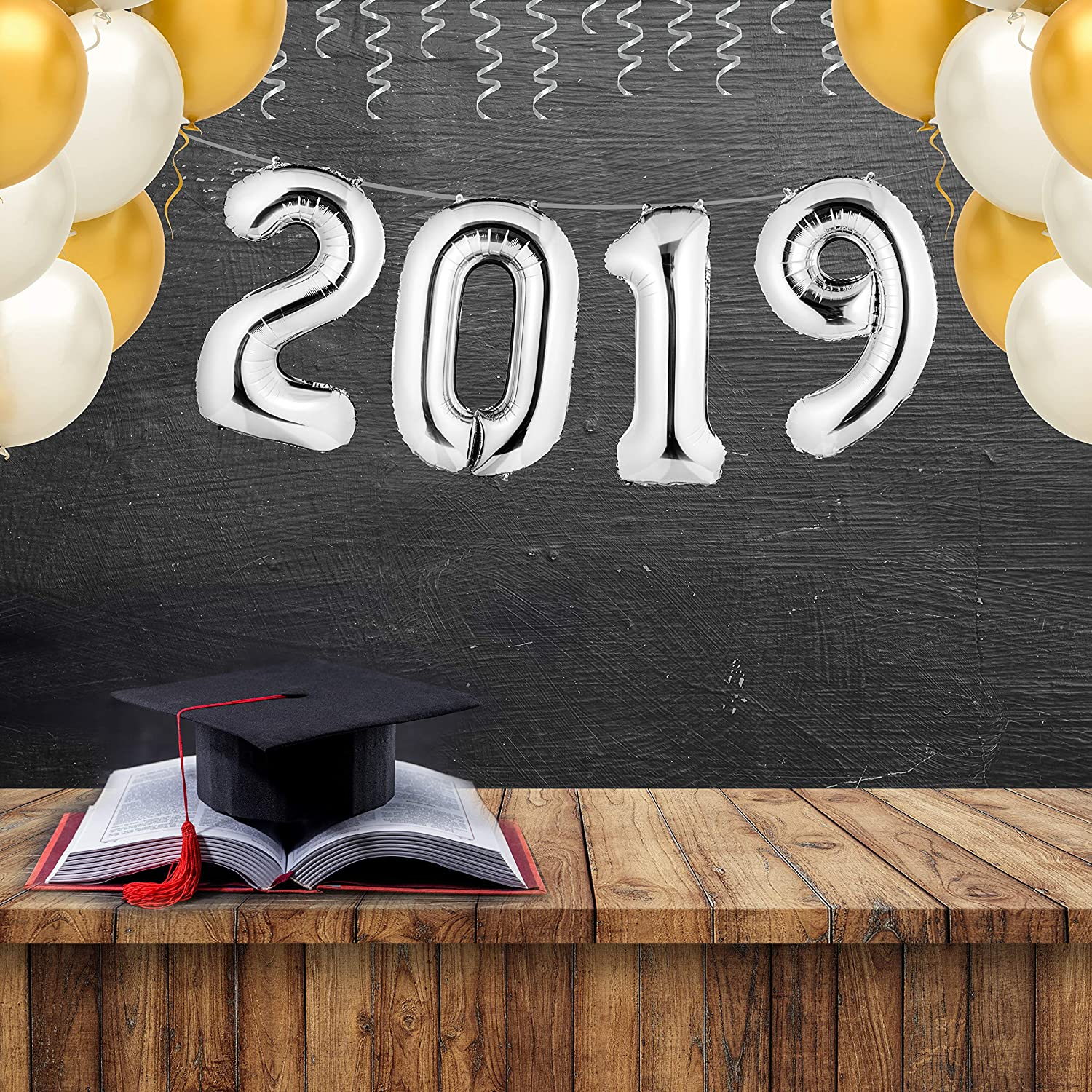 """Ribbon and Straw Included Helium Supported envizins /""""2019/"""" Silver Foil Balloon Banner 40 Graduation Balloons//New Year Eve Festival Decorations//Anniversary//Party Supplies"""