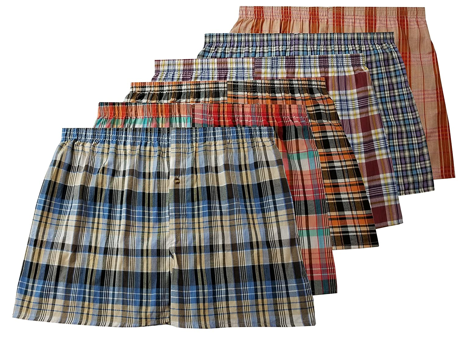 Men's True Big and Tall USA Classic Design Plaid Woven Boxer Shorts Underwear (6 Pack)
