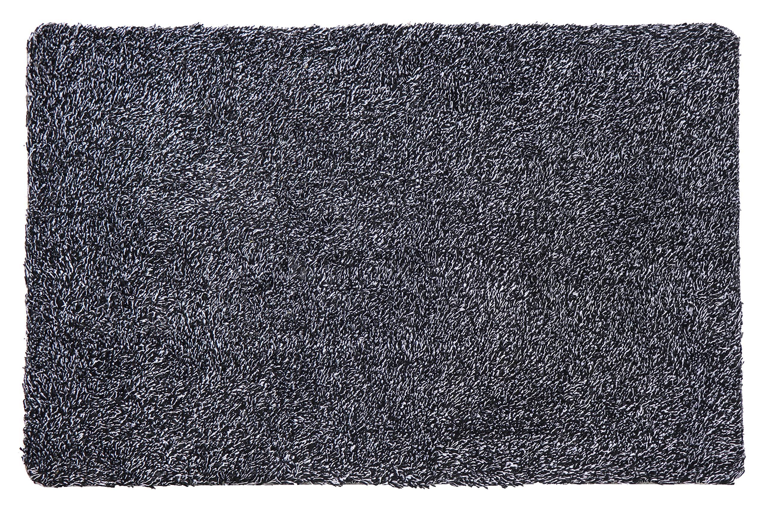 Nevid Indoor Doormat Super Absorbent Non Slip Backing Door Mat Patios Inside Dirt Trapper Mats 18'' x 28'' Entrance Rug Cotton Microfiber Carpet Black