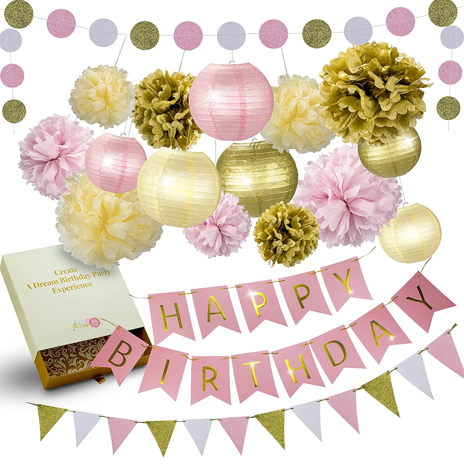 Amazon.com: LITAUS Pink and Gold Birthday Party Decorations ...