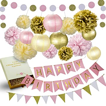 31 Pcs Of Pink Gold And Cream Birthday Party Decoration Set PomPom Lanterns Polka Dot Triangle
